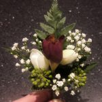wedding guest, gathered buttonhole