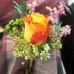 gathered buttonhole, wedding, flowers