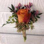 gathered buttonhole, wedding