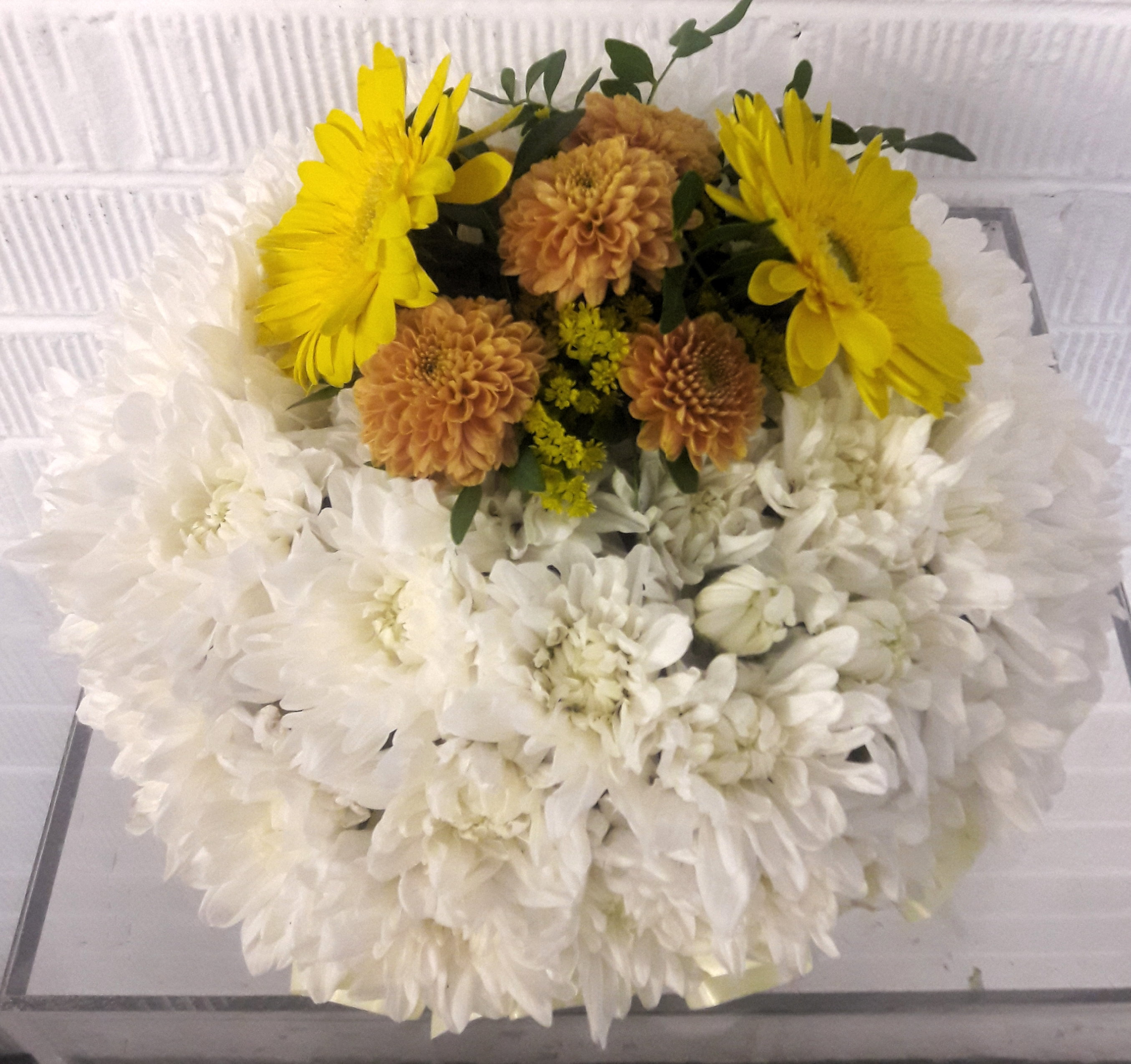 massed posy, funeral tribute,