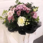 gift bag bouquet, flowers, roses, snowberries